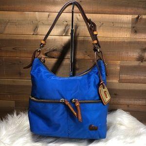 Dooney & Bourke Blue Nylon Zip Hobo